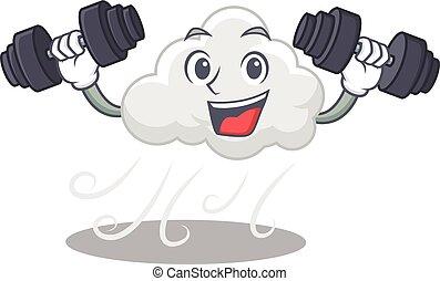 feláll, mosolygós, felhős, tervezés, szeles, kis kézi ...