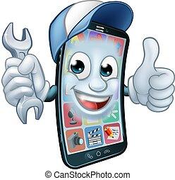 feláll, mozgatható, karikatúra, csavarkulcs, telefon, lapozgat, rendbehozás