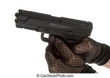 feláll, pisztoly, pár kesztyű, kézbesít, becsuk, hím