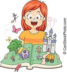 feláll, váratlanul, képzelet, könyv, leány, bástya, kölyök