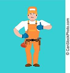 feláll., vízvezeték szerelő, szolgáltatás, emoji., lakatos, pislog, munkás, ábra, cheerful., vektor, lapozgat, katona