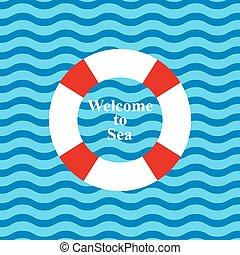 felírás, háttér, fogadtatás, óceán, mentőbólya, tenger, lenget