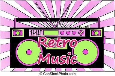 felírás, vektor, öreg, illustration., audiocassettes, music...