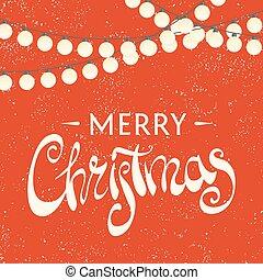 felírás, vidám christmas, háttér, piros