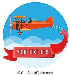 felírások, poszter, hosszú, nagy, kétfedelű repülőgép, pilóta