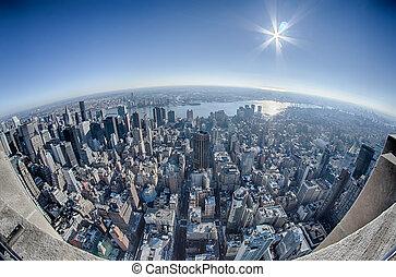 felülnézet, közül, új york város égvonal, manhattan, new york