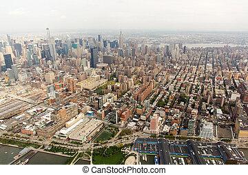 felülnézet, közül, új york város