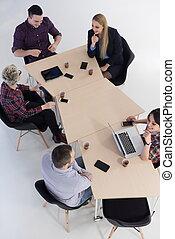 felülnézet, közül, ügy emberek, csoport, képben látható, gyűlés
