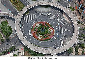 felülnézet, közül, a, útkereszteződés, alatt, shanghai, kína