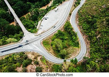 felülnézet, közül, autóút, alatt, spanyolország