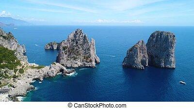 felülnézet, közül, capri, sziget