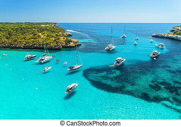 felülnézet, közül, csónakázik, fényűzés, jacht, képben látható, a, tenger, alatt, napos nap
