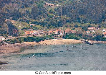 felülnézet, közül, egy, kevés, falu, alatt, galicia