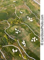 felülnézet, közül, golfpálya