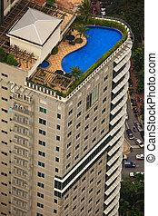 felülnézet, közül, háztető, pocsolya, képben látható, felhőkarcoló, alatt, kuala lumpur, malaysia