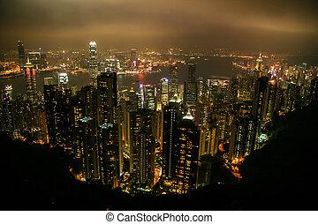 felülnézet, közül, hong kong, kína, ázsia