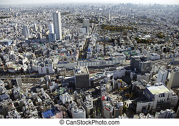 felülnézet, közül, ikebukuro, térség