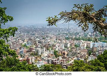 felülnézet, közül, kathmandu