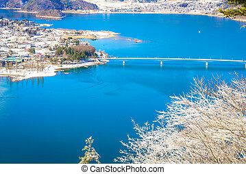 felülnézet, közül, kawaguchiko, tó