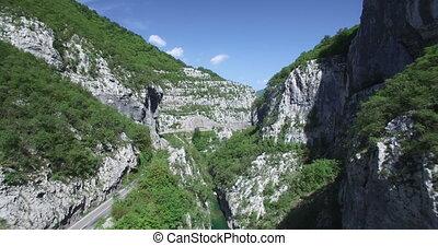felülnézet, közül, moraca, folyó, canyon.