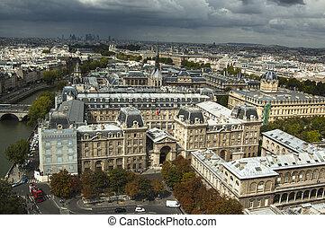 felülnézet, közül, párizs, franciaország