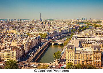felülnézet, közül, párizs