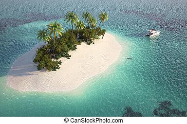 felülnézet, közül, paradicsom sziget