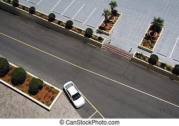 felülnézet, közül, parkolóhely