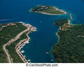 felülnézet, közül, paxos, sziget
