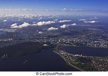 felülnézet, közül, perth, ausztrália, noha, törött, felhő képződés