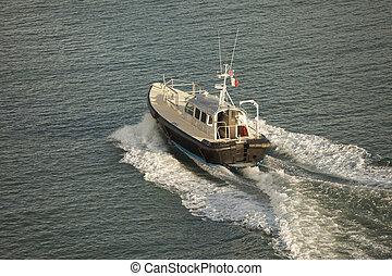 felülnézet, közül, pilóta, csónakázik