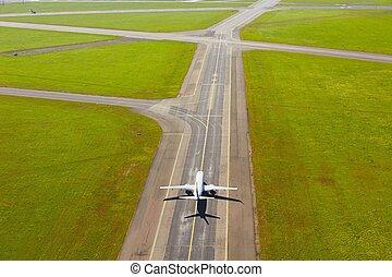 felülnézet, közül, repülőtér