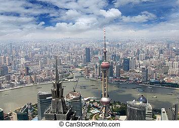 felülnézet, közül, shanghai