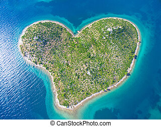 felülnézet, közül, szív, alakú, galesnjak, sziget, képben látható, a, adriai, coast.