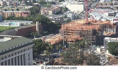 felülnézet, közül, szerkesztés, alatt, belvárosi los angeles