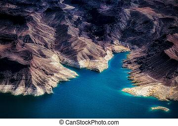 felülnézet, közül, tó mead