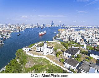 felülnézet, közül, város, alatt, taiwan, -, kaohsiung, kikötő, és, világítótorony