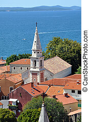 felülnézet, közül, zadar, horvátország