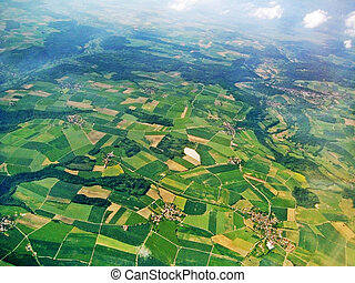 felülnézet, -, megfog, és, farmland