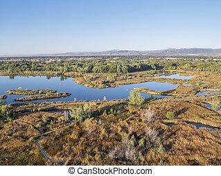 felülnézet, természetes, tó, terület