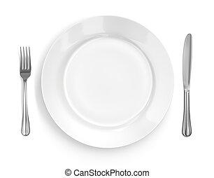 felad letesz, noha, tányér, kés villa
