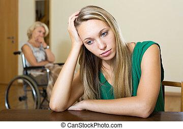 felborít, nő, és, fogyatékos