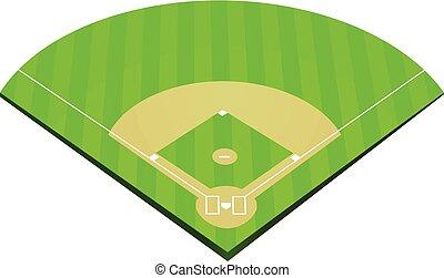 feld, baseball, vektor