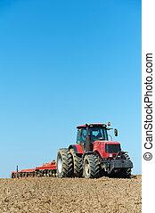 feld, bearbeitung, arbeit, traktor, pflügen