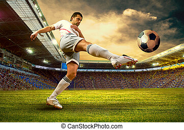 feld, fussballstadion, spieler
