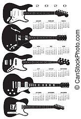 feld, guitars., elektrisch, kalender, 2020
