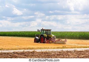 Feld, landwirtschaft,  -, Traktor, Pflügen