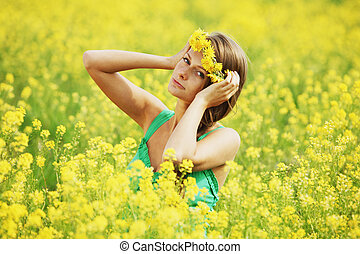 feld, oilseed, frau