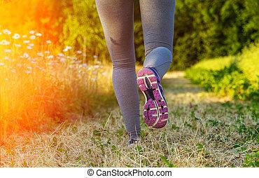 feld, rennender , frau, sonnenuntergang