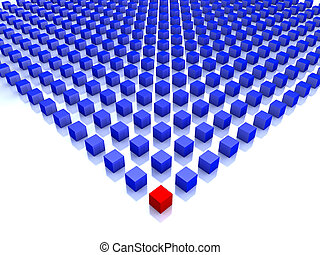 feld, von, blaues, würfel, mit, eins, rotes , auf, der, ecke